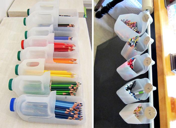 хранение карандашей в палстиковых бутылках