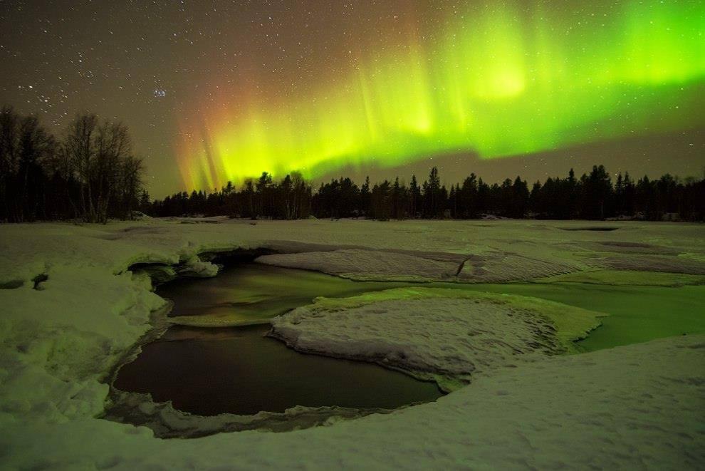Ночь на реке Поньгома, Республика Карелия.