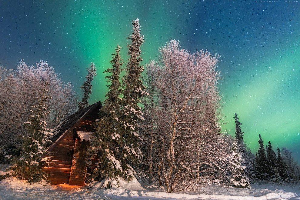 Зимняя ночь в Хибинах, Мурманская область.