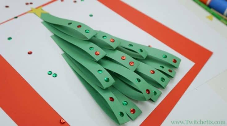 Елка из полосок цветной бумаги для детей
